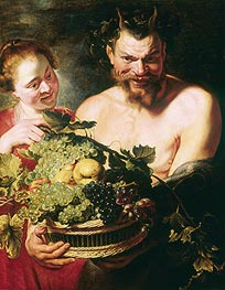 Faun and Nymph | Rubens | Painting Reproduction