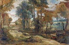 A Wagon fording a Stream | Rubens | Painting Reproduction