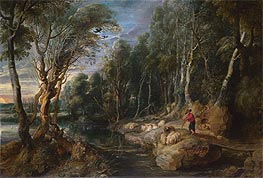A Shepherd with his Flock in a Woody Landscape | Rubens | Gemälde Reproduktion