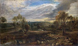 A Landscape with a Shepherd and his Flock, c.1638 by Rubens | Painting Reproduction
