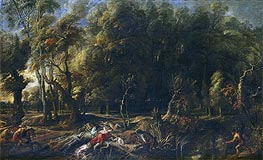 Atalanta and Meleager Hunting the Wild Boar of Calydon | Rubens | Painting Reproduction