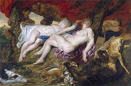 Diana and her Nymphs Spied upon by Satyrs, c.1616 von Rubens | Gemälde-Reproduktion