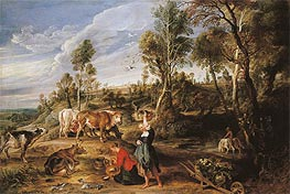 Milkmaids with Cattle in a Landscape (The Farm at Laken) | Rubens | Painting Reproduction