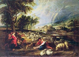 Landscape with Rainbow, undated by Rubens | Painting Reproduction