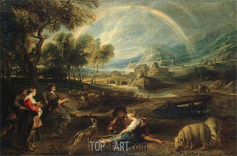 Landscape with a Rainbow, c.1630/35 | Rubens | Painting Reproduction