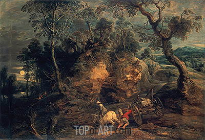 Landscape with Stone Carriers, c.1620 | Rubens | Gemälde Reproduktion