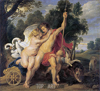 Venus and Adonis, c.1615 | Rubens | Painting Reproduction