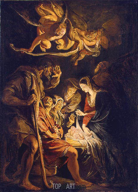 The Adoration of the Shepherds, 1608 | Rubens | Gemälde Reproduktion