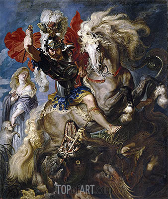 The Combat Between Saint George and the Dragon, c.1606/07 | Rubens | Gemälde Reproduktion