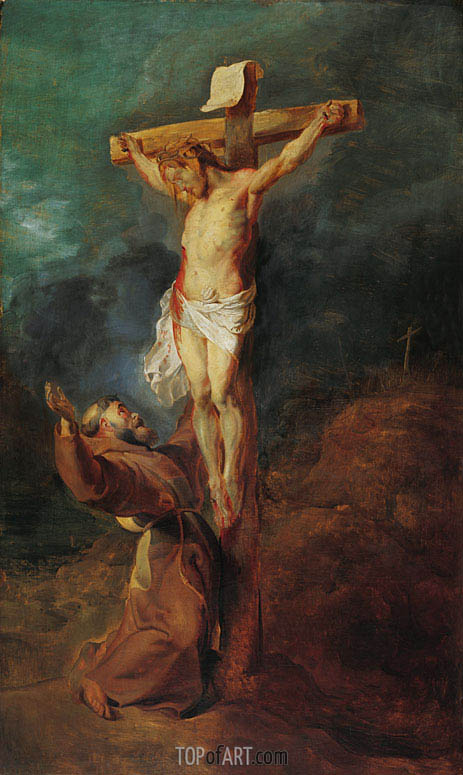 St. Francis of Assisi before the Crucified Christ, 1625 | Rubens | Gemälde Reproduktion