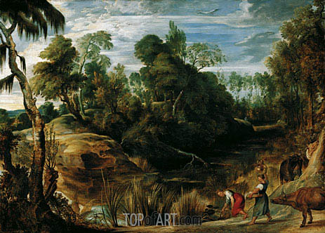 Landscape with Milkmaids and Cows, 1616 | Rubens | Painting Reproduction