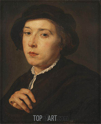 Young Man with a Black Cap, 1615 | Rubens | Gemälde Reproduktion