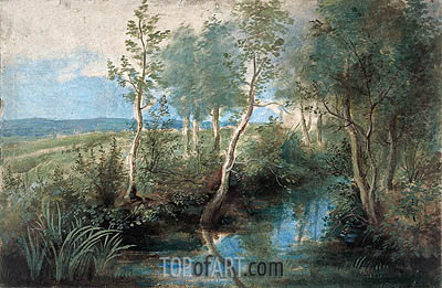 Landscape with Stream Overhung with Trees, c.1637/40 | Rubens | Painting Reproduction