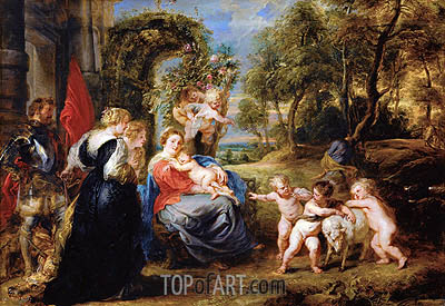 Rest on the Flight from Egypt with Saints, c.1635 | Rubens | Gemälde Reproduktion