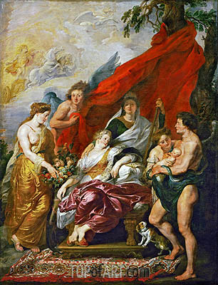 The Birth of Louis XIII at Fontainebleau, 27th September 1601 (The Medici Cycle), c.1621/25 | Rubens | Gemälde Reproduktion