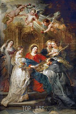 Virgin Mary Presenting a Liturgical Robe to St. Ildefonso (Central Panel of the Ildefonso Altar), c.1630/32 | Rubens | Painting Reproduction