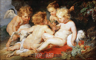 Infant Christ with John the Baptist and Two Angels, c.1615/20 | Rubens | Gemälde Reproduktion