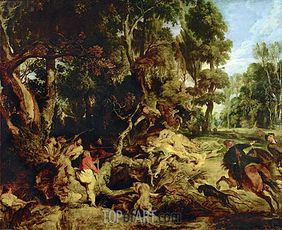 Wild Boar Hunt, c.1615/20 | Rubens | Painting Reproduction