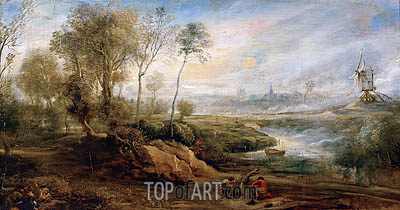 Landscape with Birdcatcher, undated | Rubens | Painting Reproduction