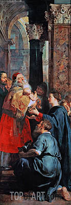 Presentation in the Temple (Descent from Cross Altarpiece - Right Panel), c.1611/14 | Rubens | Gemälde Reproduktion