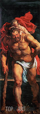 Saint Christopher (Descent from Cross Altarpiece - Closed Left Side), c.1611/14 | Rubens | Painting Reproduction