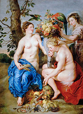 Ceres with Two Nymphs, c.1624 | Rubens | Painting Reproduction