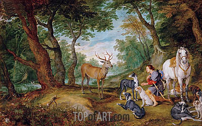 The Vision of Saint Hubertus, c.1615/30 | Rubens | Painting Reproduction