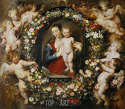 Virgin with a Garland of Flowers,  c.1618/20 | Rubens | Gemälde Reproduktion