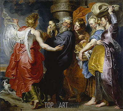 The Departure of Lot and His Family from Sodom, c.1613/15 | Rubens | Gemälde Reproduktion