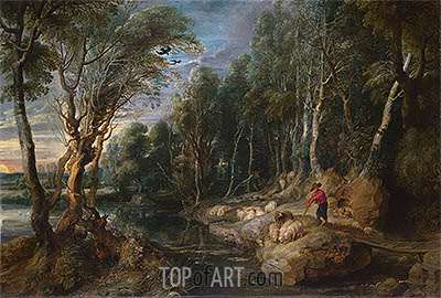 A Shepherd with his Flock in a Woody Landscape, c.1615/22 | Rubens | Painting Reproduction