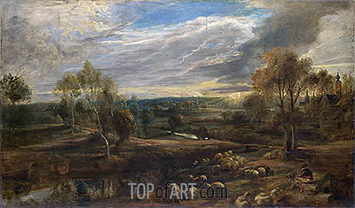 A Landscape with a Shepherd and his Flock, c.1638 | Rubens | Painting Reproduction