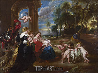 The Holy Family with Saints in a Landscape, c.1635/40 | Rubens | Painting Reproduction