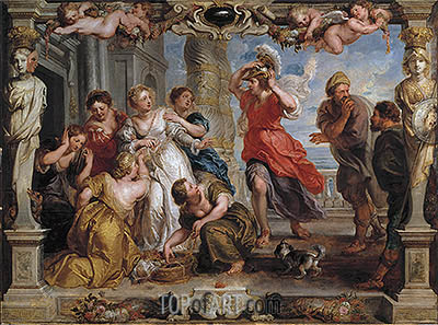 Achilles Discovered by Ulysses Among the Daughters of Lycomedes, c.1625/30 | Rubens | Painting Reproduction