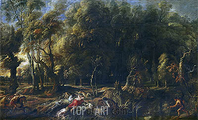 Atalanta and Meleager Hunting the Wild Boar of Calydon, c.1636   Rubens   Painting Reproduction