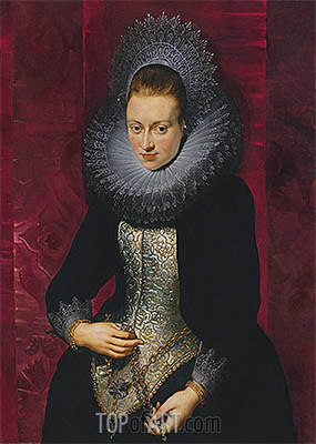Portrait of a Young Woman with a Rosary, c.1609/10 | Rubens | Gemälde Reproduktion