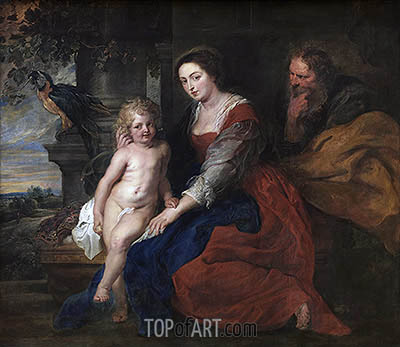 Holy Family with Parrot, c.1614 | Rubens | Painting Reproduction