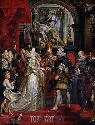 The Proxy Marriage of Marie de Medici and Henri IV 5th October 1600, c.1621/25 | Rubens | Gemälde Reproduktion