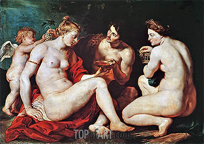 Venus, Cupid, Bacchus and Ceres, c.1613 | Rubens | Painting Reproduction