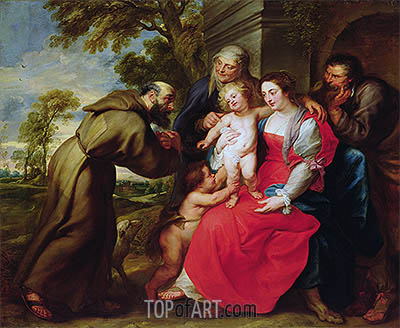 Holy Family with St. Francis, c.1625 | Rubens | Painting Reproduction