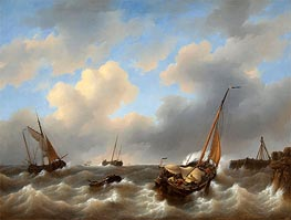Storm on the Zuiderzee Medemblik, 1840 by Petrus Schotel | Painting Reproduction