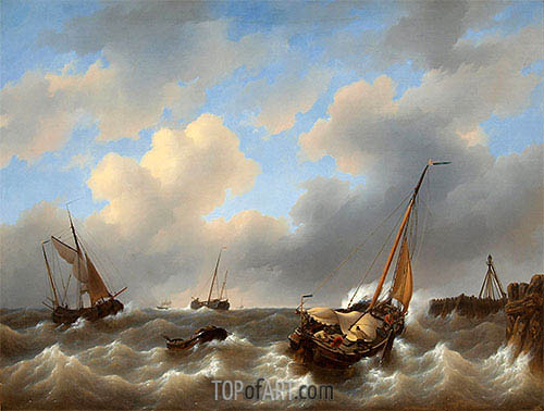 Storm on the Zuiderzee Medemblik, 1840 | Petrus Schotel | Painting Reproduction