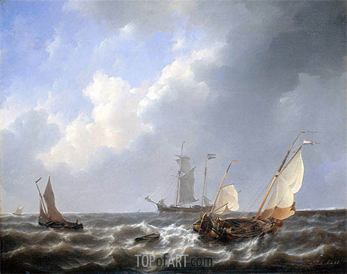 Seascape from the Zeeland Waters, near the Island of Schouwen, c.1825/27 | Petrus Schotel | Painting Reproduction