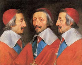 Triple Portrait of Cardinal Richelieu, 1642 by Philippe de Champaigne | Painting Reproduction