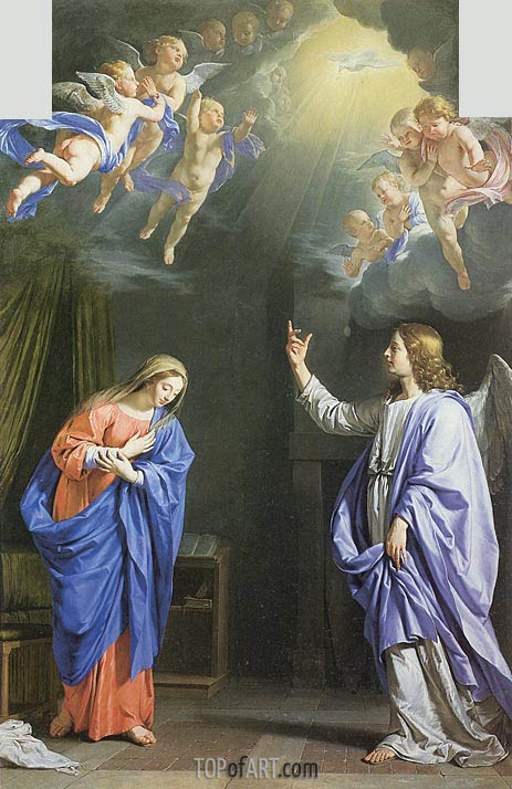 The Annunciation, c.1645 | Philippe de Champaigne | Gemälde Reproduktion