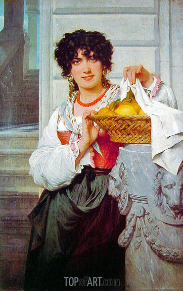 Peasant Girl with Basket of Oranges and Lemons, 1871 | Pierre-Auguste Cot | Painting Reproduction