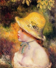 Young Girl in a Straw Hat, 1890 by Renoir | Painting Reproduction