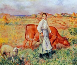 The Shepherdess, the Cow and the Ewe, c.1886/87 by Renoir | Painting Reproduction