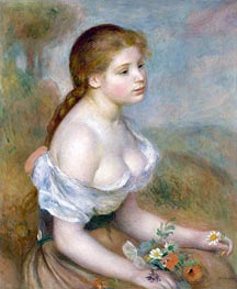 Young Girl with Daisies, 1889 by Renoir | Painting Reproduction