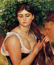 The Braid (Suzanne Valadon), c.1884/86 by Renoir | Painting Reproduction
