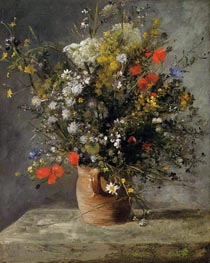 Flowers in a Vase, c.1866 by Renoir | Painting Reproduction